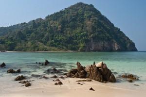 mergui archipelago beach, rock and island